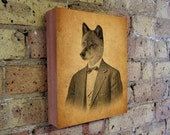 Wolf in a Suit  - Wolf Art - Wood Block Art Print - Wolf Art