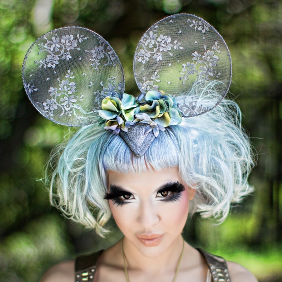 Lace Mouse ears Micky Minnie dormouse alice in wonderland