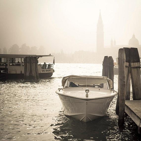 Venice, Landscape , Photography, Sepia, Foggy Venice, Fine Art Print, Travel, Wall Art, Venice Dock, Boat, Travel, Adventure