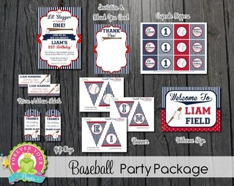 Baseball Party Package / Baseball Birthday Invitation / Baseball Party Invite / Baseball Invitation / Baseball Invite / Baseball Birthday