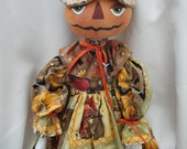 Primitive Pumpkin Harvest Folk Cloth Art Doll Decorative Doll