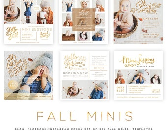 INSTANT DOWNLOAD  Fall Minis vol 1 Blog, Facebook and Instagram ready Templates