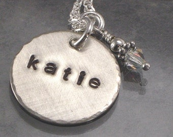 """One Hand Stamped Personalized 3/4"""" Add a Charm without Chain -  Name and Design Single Charm -  Sterling Silver Disc - Domed, Cupped or Flat"""