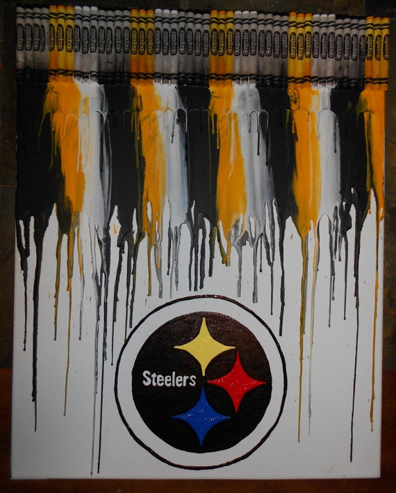 Steelers Inspired Melted Crayon Painting