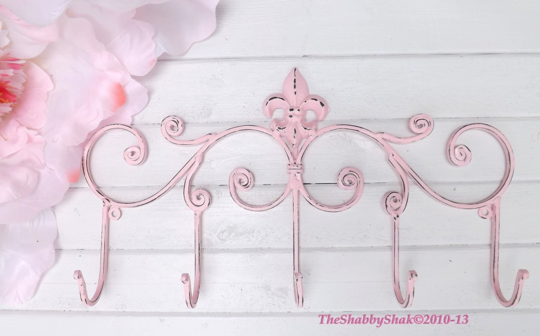 Pink fleur de lis wall hookfleur de lisentryway coat - Fleur de lis coat hook ...