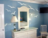 Seagull Sign Beach House Decor Huge Flock of Weathered White and Turquoise Sea Birds by CastawaysHall