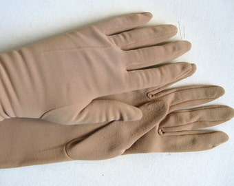 Vintage 1970s Gloves Light Brown Opera Full Length Gloves 7.5