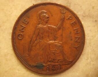1940 United Kingdom Bronze Coin, One Penny , George VI