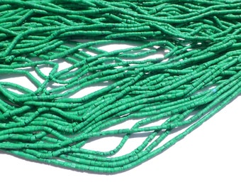 "MALACHITE beads. MaTTE Finish Heishi Beads. Reconstituted Malachite. SuPER SaTurated COlor. 14"" strand. 2 Strands. 2mm (H-Mal200-2)"