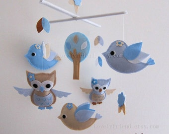 """Baby Mobile - """"Blue Wish""""  Nursery Mobile - Handmade Crib Mobile - Blue and Tan birds mobile """" (Match your bedding)"""