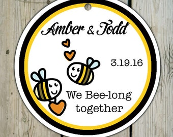 Round Custom Bee Favor Tags  / Bee Hang Tags / Bee Gift Tags - Personalized Meant to Bee Wedding Tags / Shower Tags / Bee Honey Jar Tags