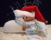 Snowman Christmas Half Snow Folk Blue Scarf