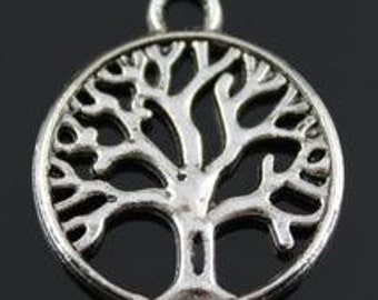 Silver antiqued Tree of life charm x 20