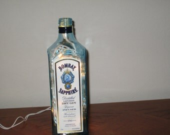 Bombay Sapphire Dry Gin Bottle Light, Man Cave Decor, 21st Birthday, Bar Light