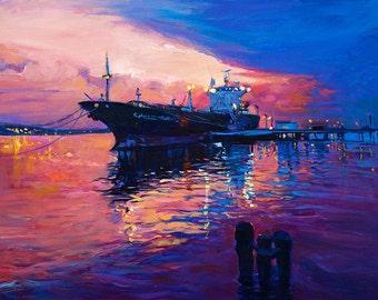 Original Seascape Oil Painting on Canvas Sunset 26x20 Original landscape-impressionistic oil painting by Ivailo Nikolov