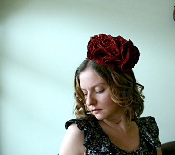 CLEARANCE - Large Tapestry Carnation Hat - Pillbox shape on a headband
