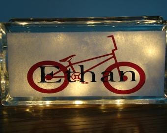 BMX bike Glass Block Night Light -Customize-Personalize Vinyl Lettering