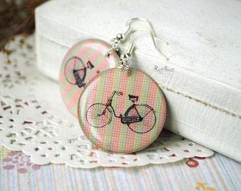 Retro bike earrings - summer earrings, travel earrings, hipster brown orange resin jewelry, gift idea for her - made to order