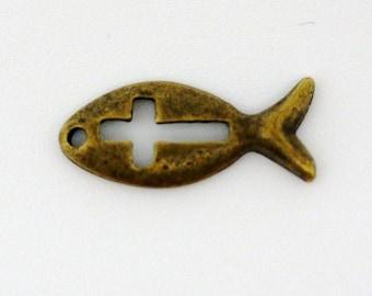 Fish Charms Pendants Antique Bronze Cut Out Cross Pendant 9x20mm - 10pcs (0929)