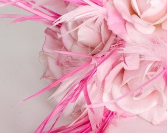 SALE In Stock Pink Feather Bouquet | Toss Bouquet | Hot Pink feathers White Lace Stem | Handmade | One of a Kind Bridal Bouquet | 1000441