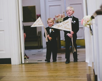 Here Comes My Mommy Sign | Made To Order | Large Wedding Banner | Here Comes My Mommy Pennant Flower Girl Ring Bearer | Classic Script Font