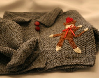 Sock Monkey Sweater, Appliqued Sweater, Gray Wool Sweater for Toddler, Winter Sweater for Child
