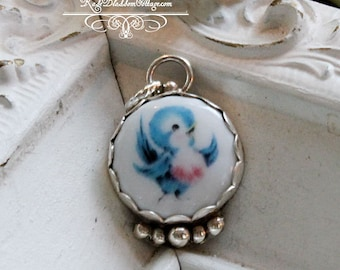 Bluebird of Happiness Sterling Ball Edged Porcelain Charm
