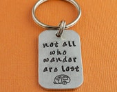 Not All Who Wander Are Lost Keychain Hand Stamped Trailer Camper