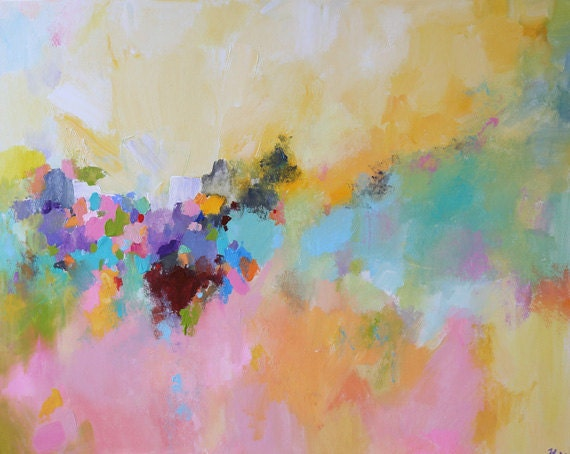 original colorful abstract landscape soft color multicolored painting abstract acrylic contemporary art by oak acryclic painting soft