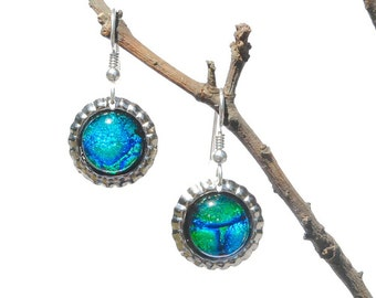 Mini Bottle Cap Dichroic Glass Earrings, Fused Glass Jewelry, Sterling Silver Hooks - Galaxy, Peacock, Cobalt Blue, Green (Item #30825-E)