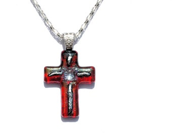 Fused Glass Cross Pendant, Fused Glass Jewelry, Dichroic Glass, OOAK, Jesus, Love, Faith, Religious - Iridescent Red, Silver (Item #10668-P)
