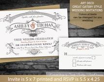 DIY Great Gatsby Wedding Invitations Set Art Deco 1920's Style Vintage Great Gatsby theme wedding invitation set, Digital Printable Files