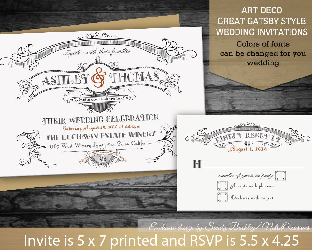 DIY Great Gatsby Wedding Invitations Set Art By NotedOccasions