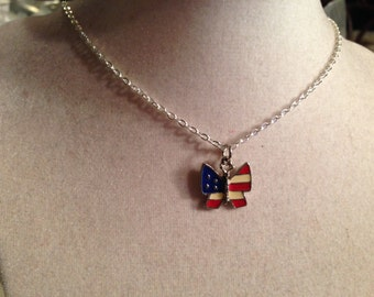 Butterfly Necklace - Silver Jewelry - Red White Blue Jewellery - Chain - Fashion - Pendant - Patriotic