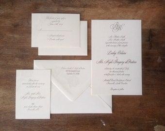 Elegant Gold Thermography Invitation