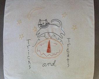 Tricks and Treats Halloween Simple stitchery on Vintage linen