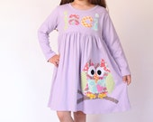Owl Dress - Toddler Dress Personalized - You Choose Dress Color