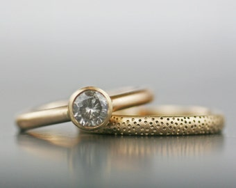 "Engagement ring Wedding band - alternative moissanite or diamond 14K gold ""sand dunes"" stacking set - his hers his his hers hers - recyled"