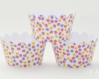 MINI Pink Yellow and Purple Flower Cupcake Wrappers - Mini Cupcake Wraps Set of 24 - Garden Party