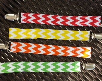 Four chevron pacifier clips-brights