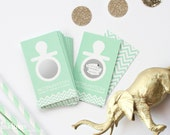 24 Scratch Off Cards for Baby Shower Game // Pacifier in Mint Green