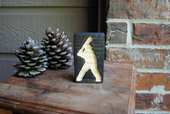 Baseball Player Carved Wood Sign - Reclaimed Wood