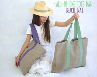 Linen tote bag beach mat -Softness- Eco-friendly all-in-one bag mat, shopper tote, picnic bag, yoga mat, pool mat, choose your handle color,