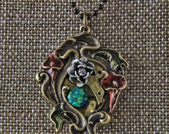 Steampunk Floral Pendant Necklace with Faux Opal Clock Parts Bead Chain