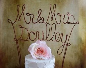 Mr & Mrs LAST NAME Wedding Cake Topper Banner - Custom Wedding Cake Decoration, Personalized Wedding Cake Topper, Name Wedding Cake Topper