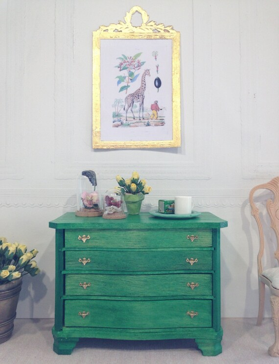 emerald green stained bureau chest of drawers dollhouse size. Black Bedroom Furniture Sets. Home Design Ideas