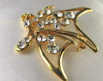 Shiny Gold Abstract Modern Butterfly Brooch for bridal bouquet or jewelry decoration