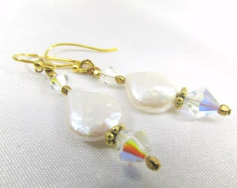 White Freshwater Pearl Coins with Swarovski Crystal AB Earrings on 14k Gold Fill