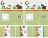 """Printable """"Forest Animal Friends"""" Baby Shower Candy Bar Wrappers Instant Digital Download"""
