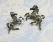 Horse Pony Brooches Pins, 1960s Vintage Grey Gray Enamel 2 Horses Ponies Brooches Pins Mare and Foal, Dancing Horses, Mother and Baby Pins